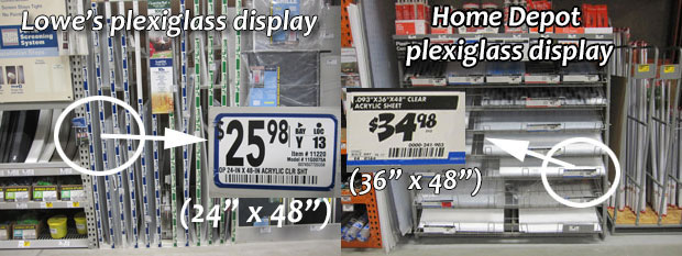 plexiglass dislpay at Lowes