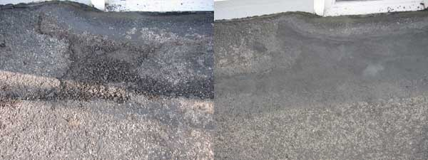 Epoxyshield driveway patch before and after photo